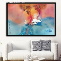 Decorative Kanye West & Kid Cudi Kids See Ghosts 2018 Album Poster Wall Art Picture for Living Room Home Decor Posters and Print