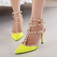 Three pointed, high-heeled shoes rivet sandals shoes-1
