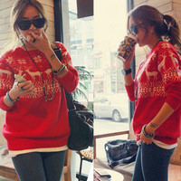 Fashion Reindeer round neck sweater