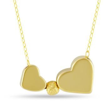 Double Heart Necklace, Gold Plated Two Hearts Necklace, Simple Modern Necklace