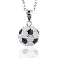 925 Sterling Silver Black White Soccer Ball Pendant Necklace, 17 inches