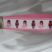 Adorable Keychain Wristlet Made With Nutcracker Inspired Ribbon