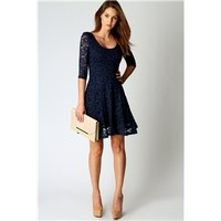 Boohoo Women's Ivy All Over Lace 3/4 Sleeve Fit + Flare Dress (Navy Blue)