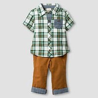 Baby Boys' Short-Sleeve Plaid Top and Pant Baby Cat & Jack™ - Green/Toffee : Target