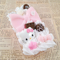 Clear iPhone 4/4S Case - Decoden Case - Sweets Deco - Kawaii Princess - Chocolate Candy - Hello Kitty - Pink Bow Hime Gyaru - Whipped Cream