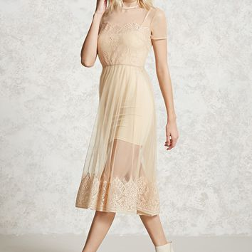 Sheer Mesh Lace Midi Dress