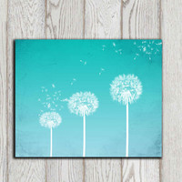 Dandelion printable Turquoise Dandelion Wall art Home decor print Bedroom wall decor Poster Abstract flower Office decor INSTANT DOWNLOAD