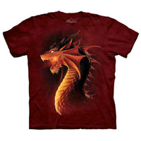 RED DRAGON Face The Mountain Angry Fire Breathing Fantasy Art T-Shirt S-3XL NEW