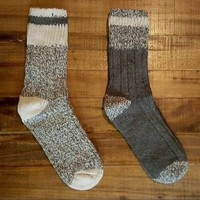 Woolly Mammoth 2 Pairs Wool Ragg Socks for Men and Women Gray Wool Blend Socks