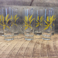 Vintage Wheat Glasses Set of 8, Water Glasses with Wheat Design, Golden Wheat, Gold Wheat Glasses