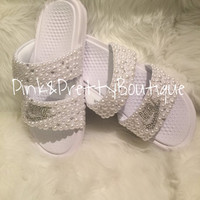 Custom Pearl & Bling Nike Slides