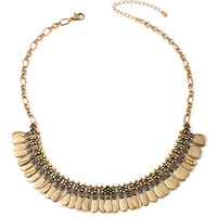 FOREVER 21 Floral Rhinestone & Coin Necklace Gold/Grey One