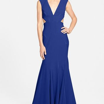 Women's Nicole Miller Cutout Crepe Mermaid Gown,