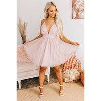 Born To Shine Tulle Mini Dress (Vintage Blush)