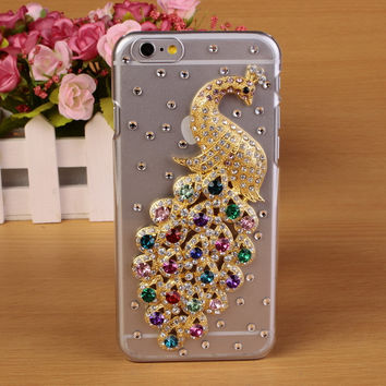 2015 Luxury Bling Case For iPhone 6 Colorful Rhinestone Diamonds Peacock Plastic Hard Case Cover For Apple Iphone