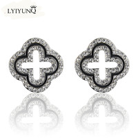 2016 Fashion Brand Jewelry Silver Plated Four Leaf Clover Stud CC Earrings For Women Girls Lady Gifts Ear Cuff jewelery