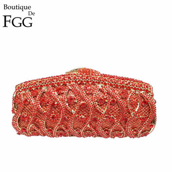 GiftBox Socialite Gold Crystal Evening Bags Women Diamond Casual Clutch Bag Wedding Prom Lady Handbags Metal Hollow Out Clutches