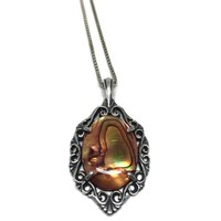 Filigree Sterling Silver Shell Pendant, Dyed Paua Shell Abalone Shell Cabochon in Openwork Bali Style Setting