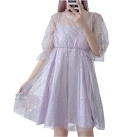 Japanese soft sister star bronzing sequins net yarn party dress Harajuku super fairy large swing mesh + strap dress woman