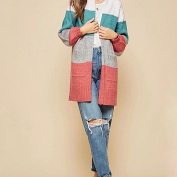 Open-Front Long-Line Colorblock Cardigan With Pockets - Mint