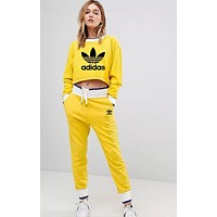 Adidas Trending Women Stylish Print Long Sleeve Sweater Top Pants Trousers Set Two-Piece Sportswear Yellow