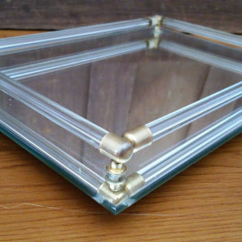 Vintage Rectangle Beveled Mid Century Mirrored Dresser Vanity Bar Tray Gold Brass Corner Accents
