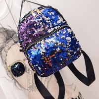 School Backpack trendy New Female Backpack Small Mini Women's Sequins PU Leather School Bag Girls Small Travel Bling Backpacks AT_54_4