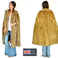 faux fur AUTUMN HAZE cloak cape poncho MAXI coat, extra small-medium