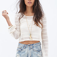 FOREVER 21 Open-Knit Crop Top Cream