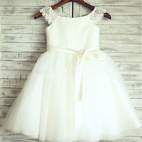 Ivory Flower Girl Dress with Ribbon Sash First Communion Dress 2T 3T 4T 5T 6T 7T
