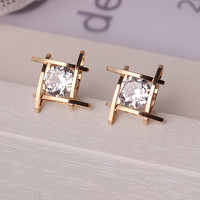 Yimloi Romantic Silver Plated Crystal Stud Earrings For Women E297