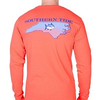 North Carolina Long Sleeve State Tee Shirt in Hot Coral by Southern Tide