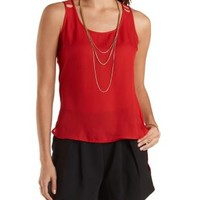 Red Caged-Back High-Low Tank Top by Charlotte Russe