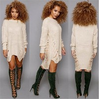 Autumn Womens Clothes Woman Sweater O Neck Winter Long Sleeve Jumper Tops Knitted Sweater Bodycon Tunic Dress