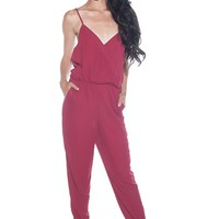 That is a Wrap Spaghetti Strap Wrap Front Jumpsuit - Burgundy