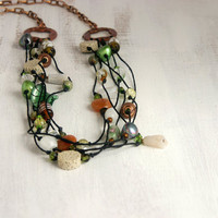 Green statement necklace, knotted necklace, bead multi layered necklace with black wax cord