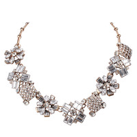 White Crystal Flora Fashion Necklace