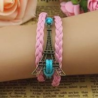 Vintage Style Pink and Blue Leather Rope Tower Love Bracelet:Amazon:Jewelry