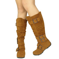 Womens Knee High BootsRuched Leather BucklesKnitted Calf Tan