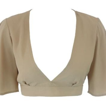 Plunging Neckline 3/4 Sleeved Crop Top - More Colors