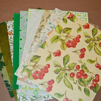 Decorative Paper Pack - Gorgeous Greens  Paper Set of 10 Printed, Velvet, Textured, Grass and Cloth Craft Paper Sheets.