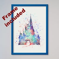 Cinderella's Castle Disney Castle Poster Watercolor Print Fairy Tale Illustration Disney Picture Kids Nursery art little girl gift FRAMED
