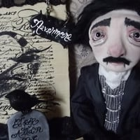 Edgar Allan Poe, The Raven, One of a Kind, Jointed, Art Doll, Clementines Creepies