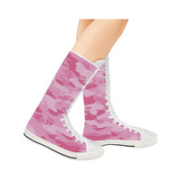Pink Camo Canvas Long Boots For Women Model 7013H | ID: D1406235