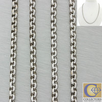 """Chopard 18k Solid White Gold 3mm Circle Link 17"""" Chain Necklace 18.2g"""