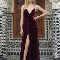 Backless Burgundy Velvet Long Prom dress