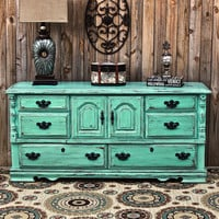 Aqua Dresser /Distressed Buffet /Shabby Chic /Bedroom Furniture /Beach Cottage /Vintage