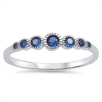 Sterling Silver Blue Gemstone Eternity Band Ring