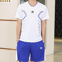 Adidas Trending Women Men Casual Short Sleeve Running Sport Set Two-Piece Sportswear (Plus-Size) White I-BL-YD