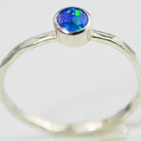 Small Silver Opal Ring